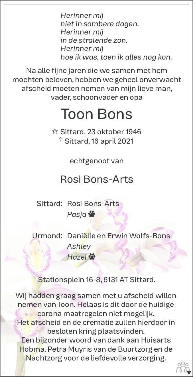 Overlijdensbericht van Toon Bons in De Limburger
