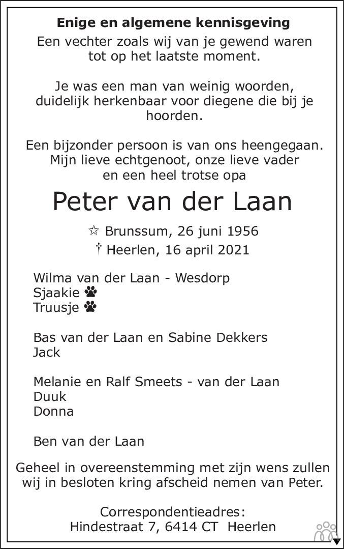 Overlijdensbericht van Peter van der Laan in De Limburger