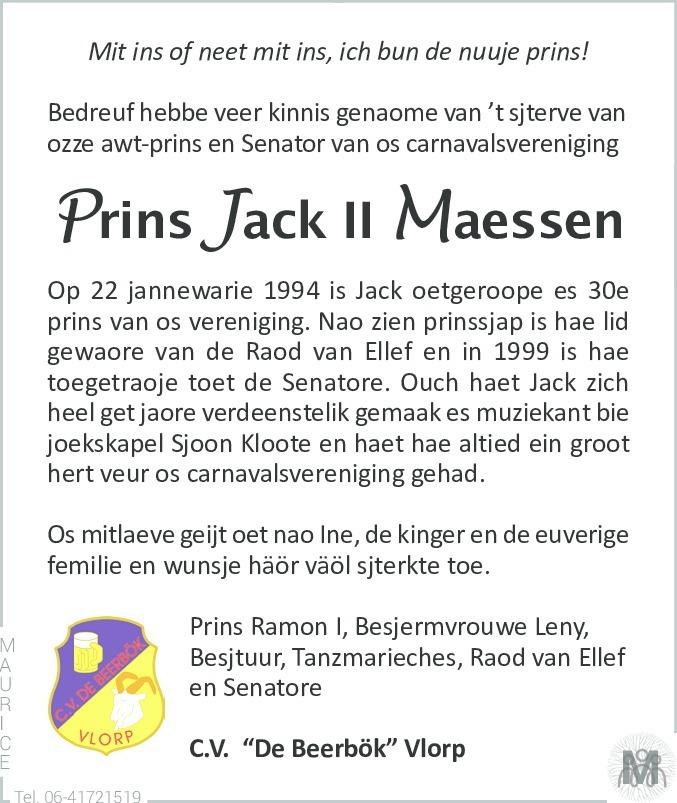 Overlijdensbericht van Jack Maessen in De Limburger