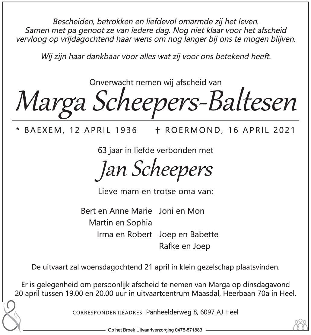 Overlijdensbericht van Marga Scheepers-Baltesen in De Limburger