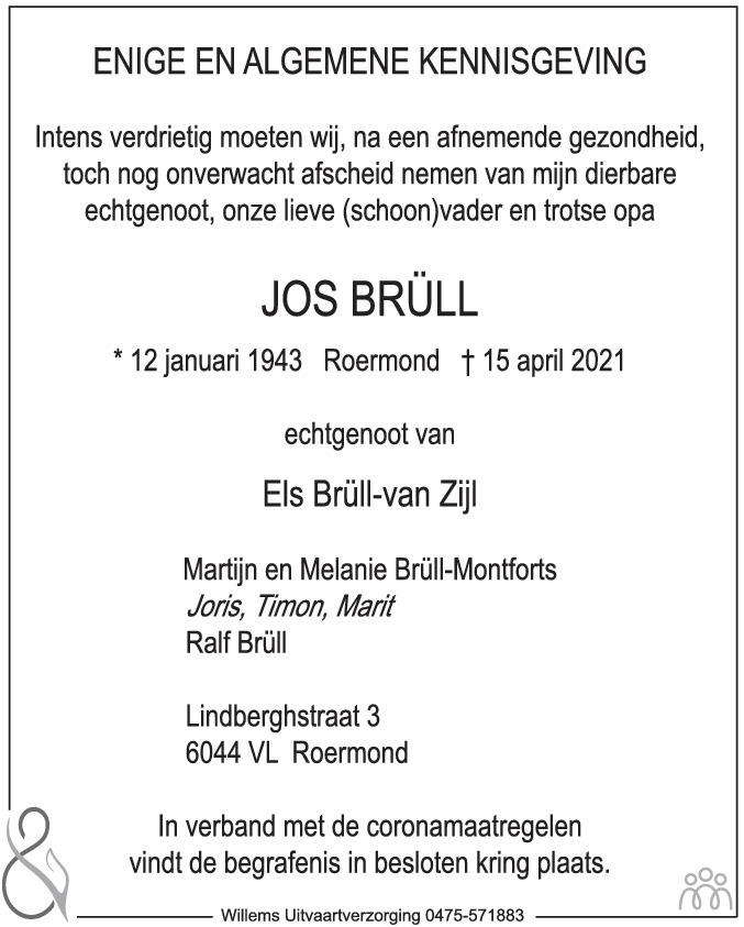 Overlijdensbericht van Jos Brüll in De Limburger