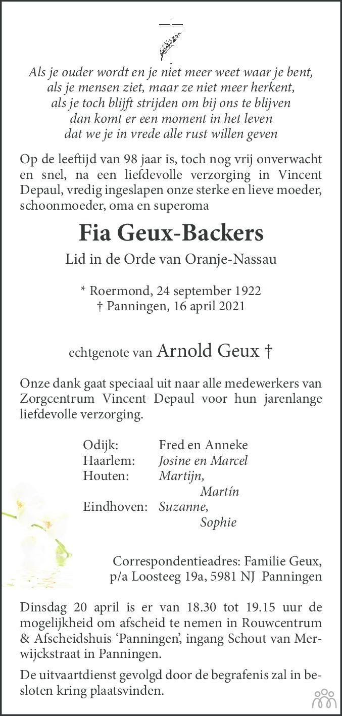 Overlijdensbericht van Fia Geux-Backers in De Limburger