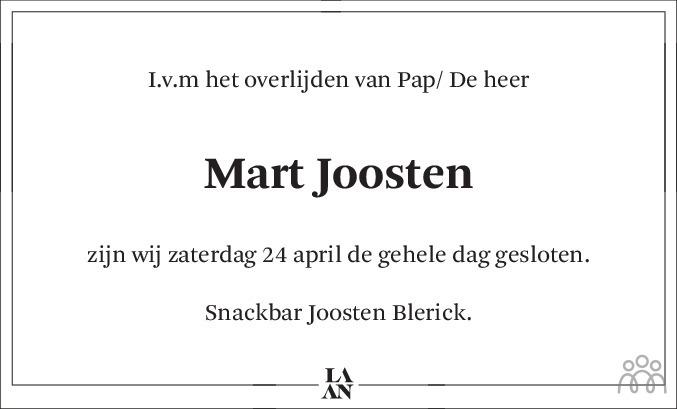 Overlijdensbericht van Mart Joosten in De Limburger