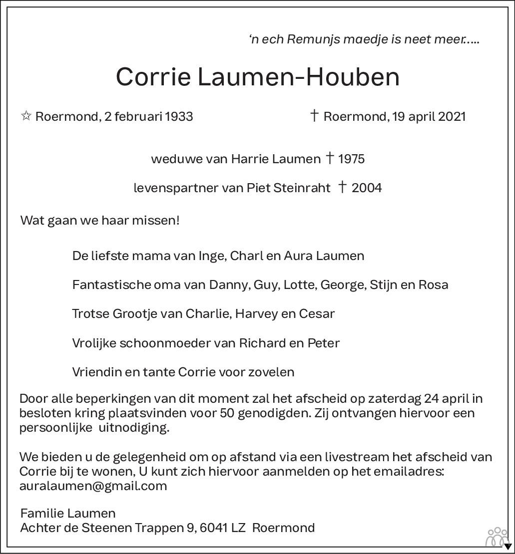 Overlijdensbericht van Corrie Laumen-Houben in De Limburger