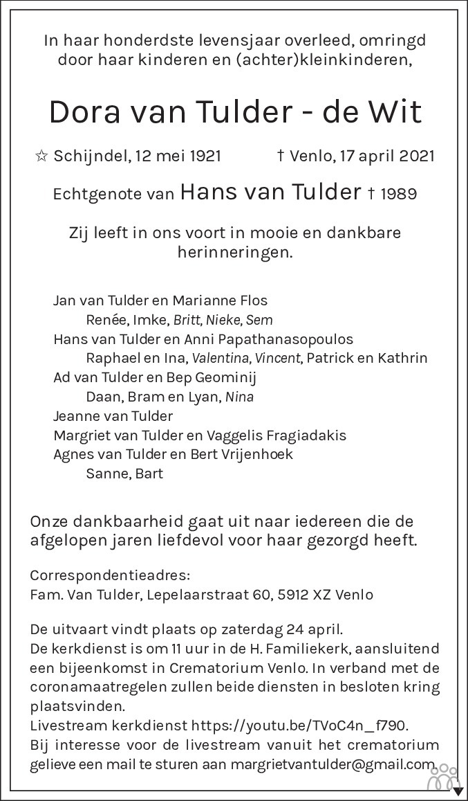 Overlijdensbericht van Dora van Tulder-de Wit in De Limburger