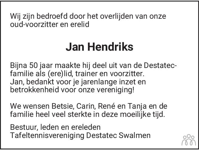 Overlijdensbericht van Jan Hendriks in De Limburger