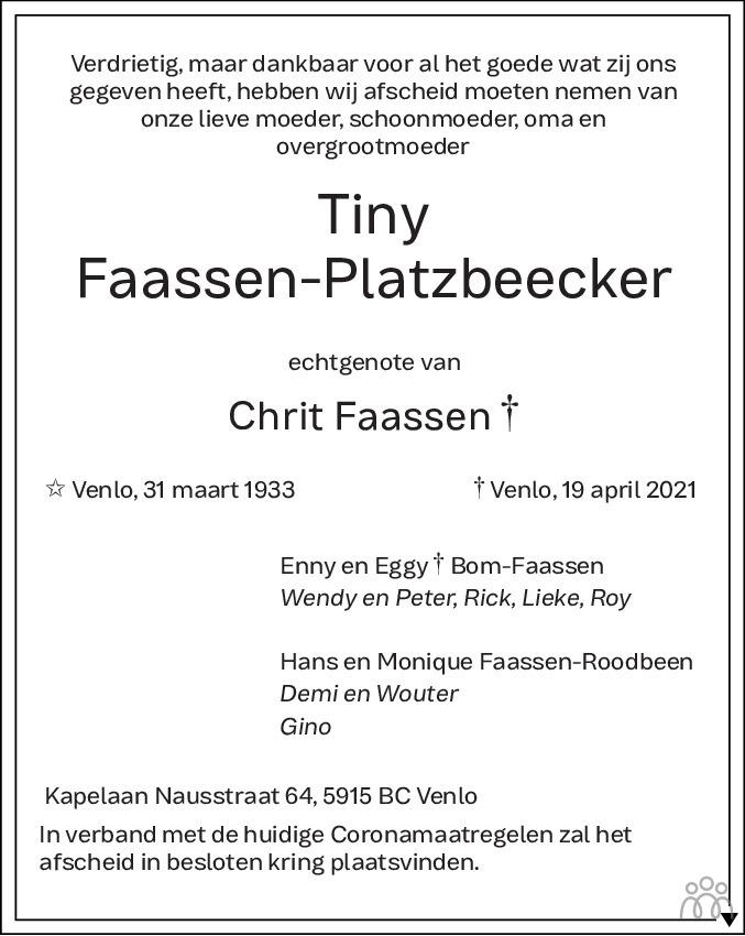 Overlijdensbericht van Tiny Faassen-Platzbeecker in De Limburger