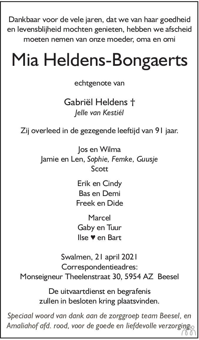 Overlijdensbericht van Mia Heldens-Bongaerts in De Limburger