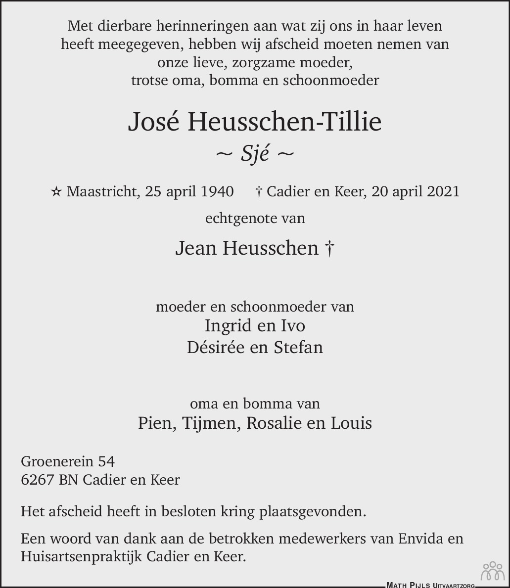 Overlijdensbericht van José (Sjé) Heusschen-Tillie in De Limburger