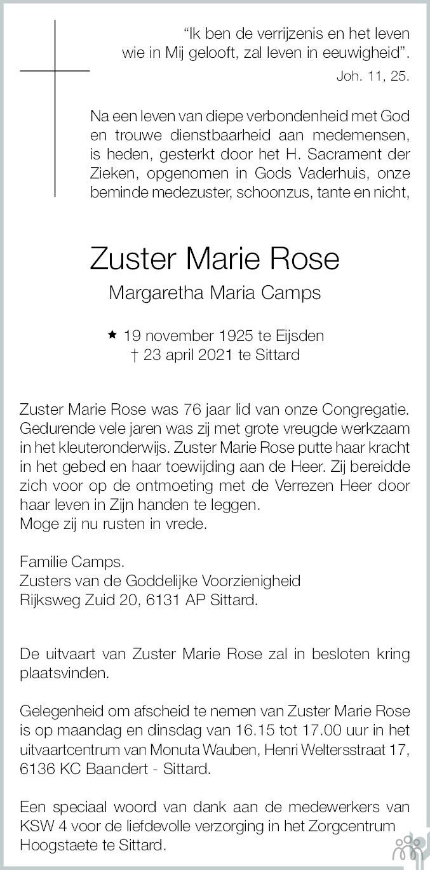 Overlijdensbericht van Zuster Marie Rose Camps in De Limburger
