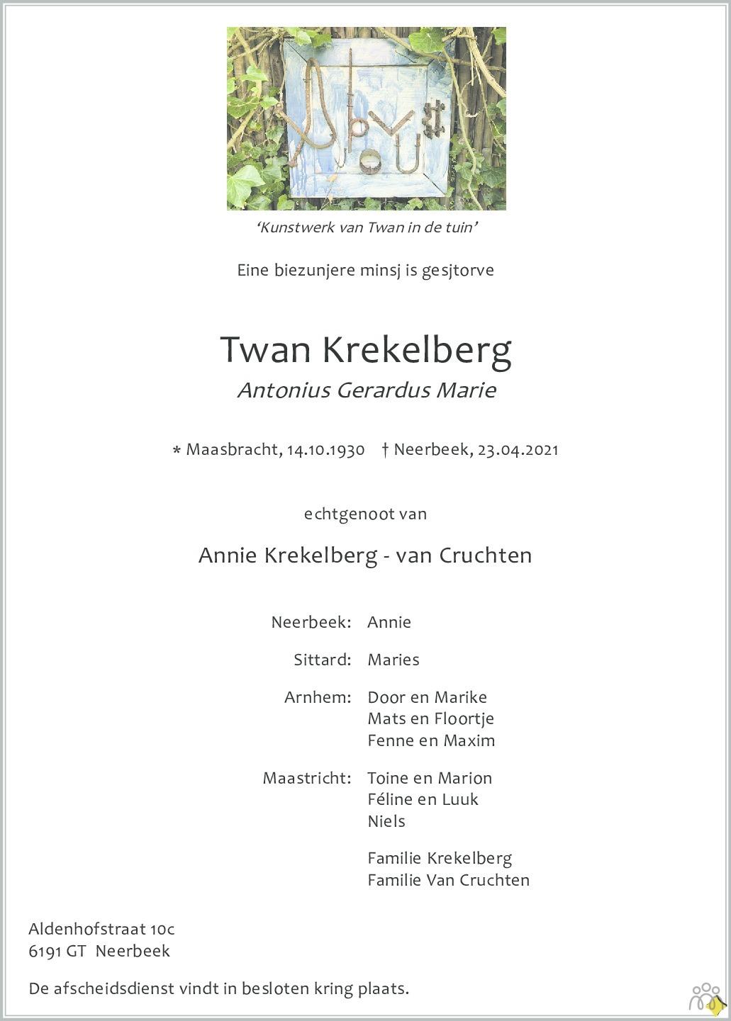 Overlijdensbericht van Antonius Gerardus Marie (Twan) Krekelberg in De Limburger