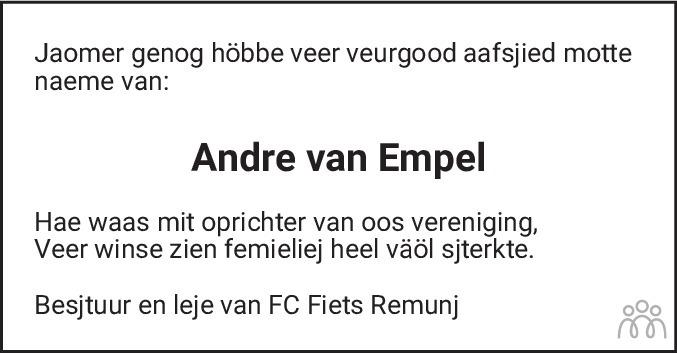 Overlijdensbericht van André van Empel in De Limburger