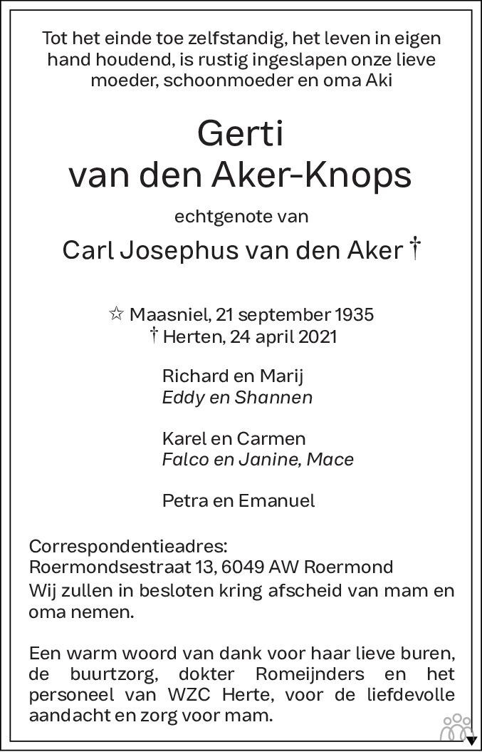 Overlijdensbericht van Gerti van den Aker-Knops in De Limburger