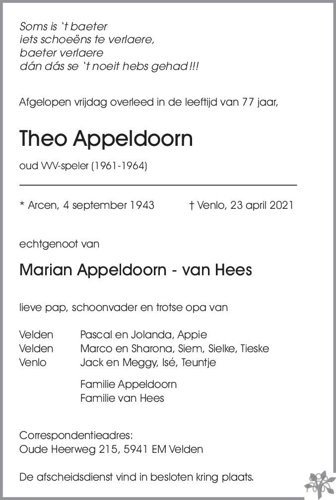 Overlijdensbericht van Theo Appeldoorn in De Limburger