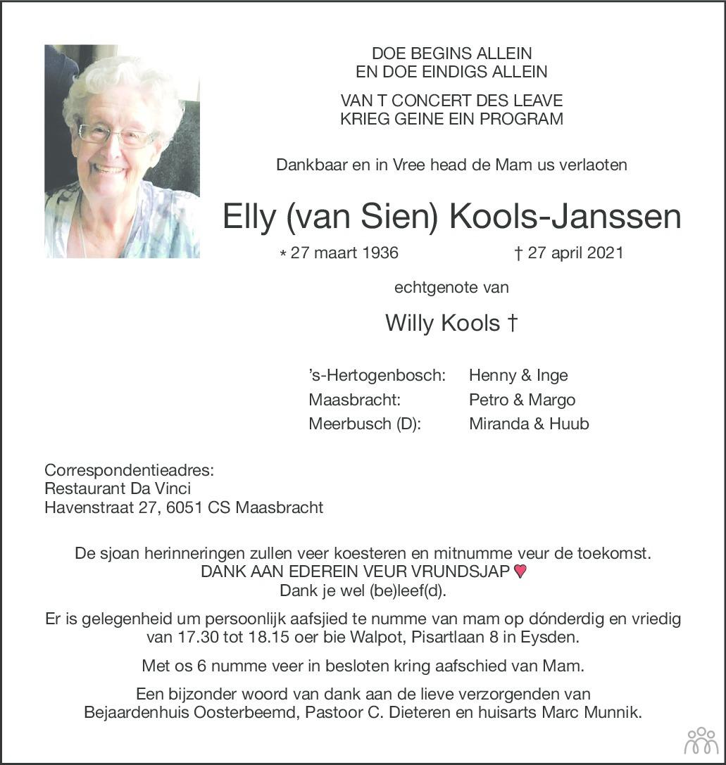 Overlijdensbericht van Elly Kools-Janssen in De Limburger