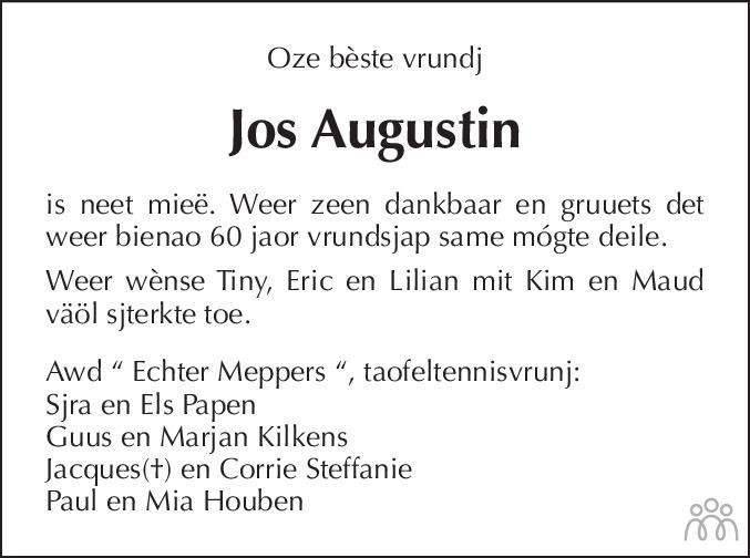 Overlijdensbericht van Jos Augustin in De Limburger