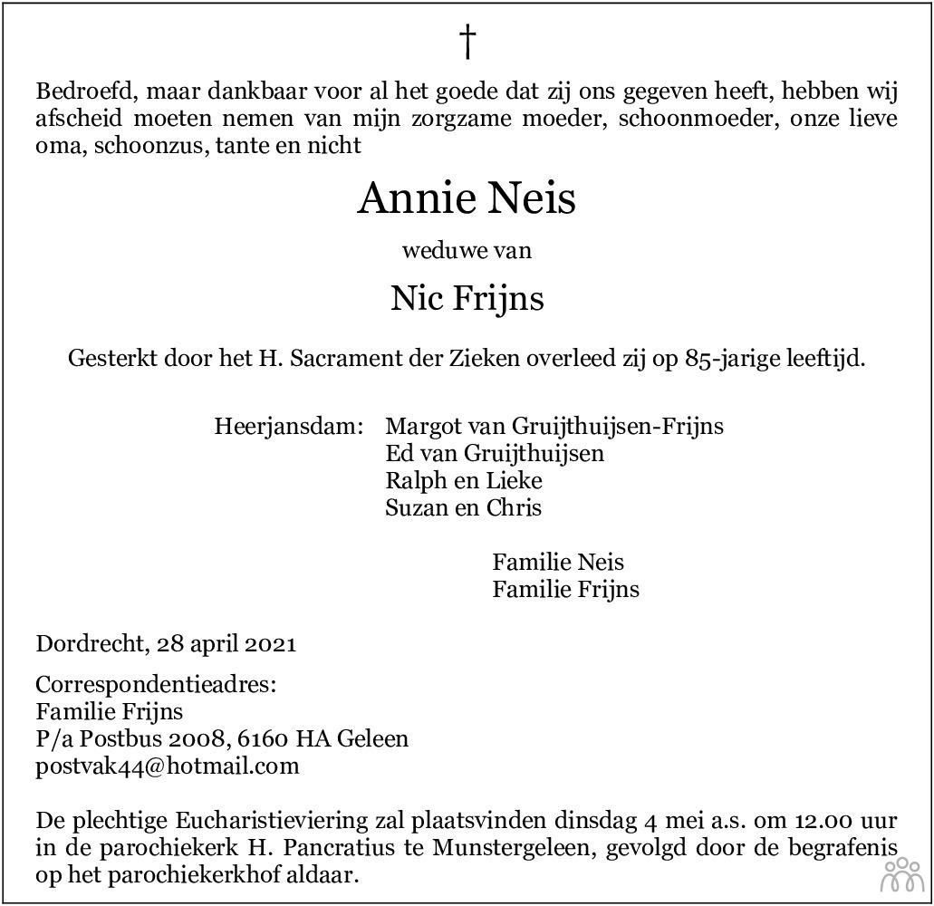 Overlijdensbericht van Annie Frijns-Neis in De Limburger