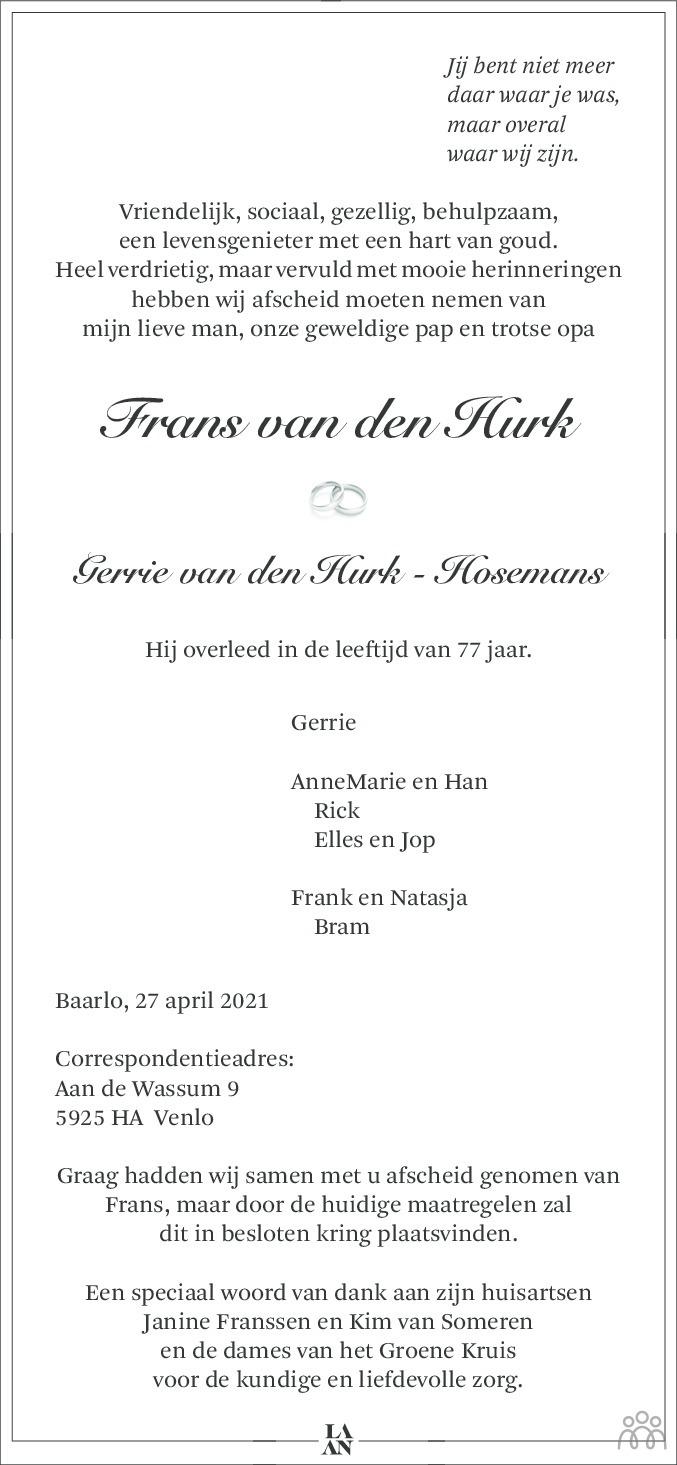 Overlijdensbericht van Frans van den Hurk in De Limburger