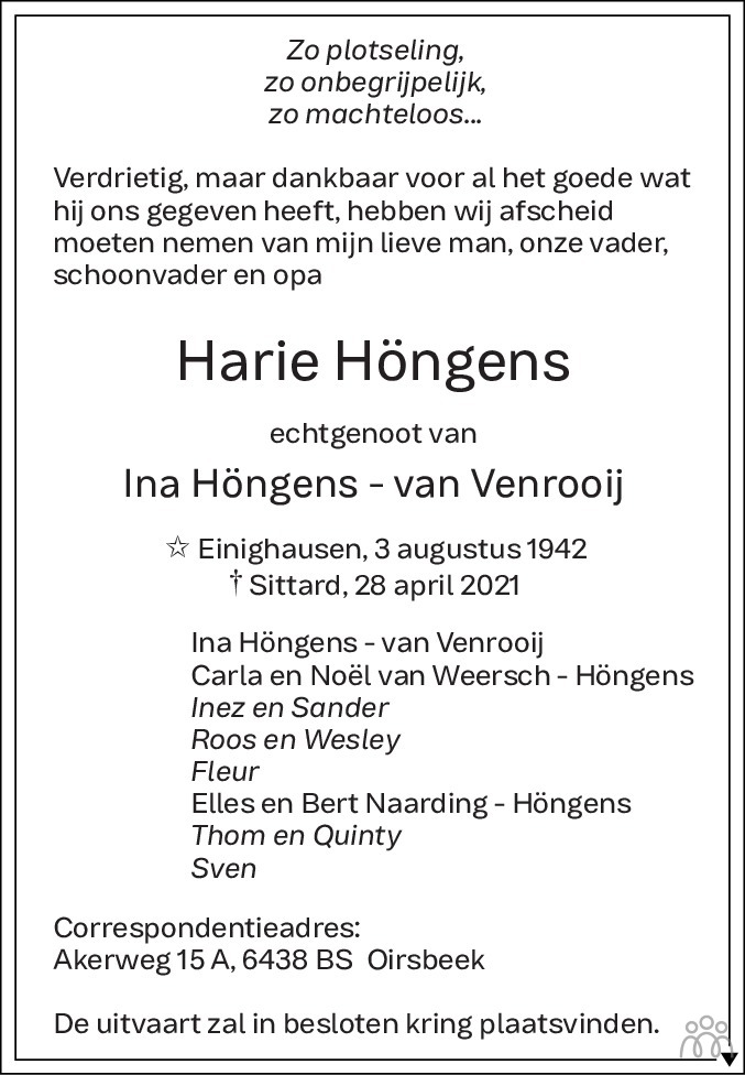 Overlijdensbericht van Harie Höngens in De Limburger