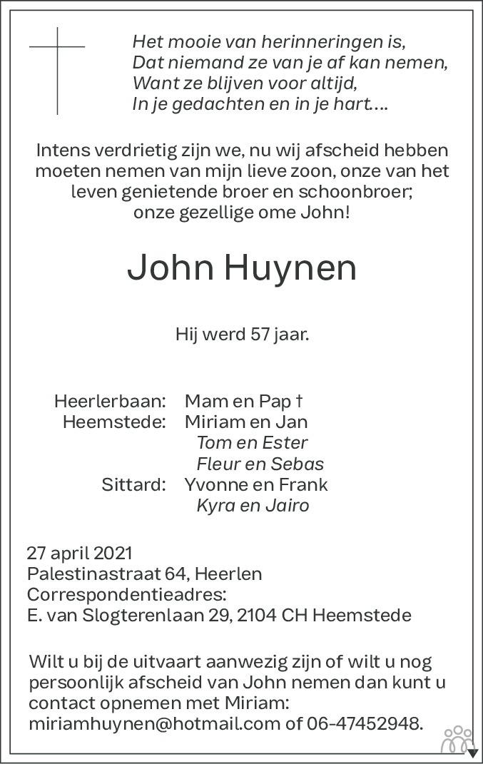 Overlijdensbericht van John Huynen in De Limburger
