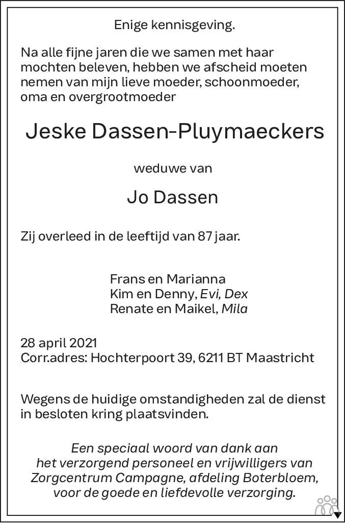 Overlijdensbericht van Jeske Dassen-Pluymaeckers in De Limburger