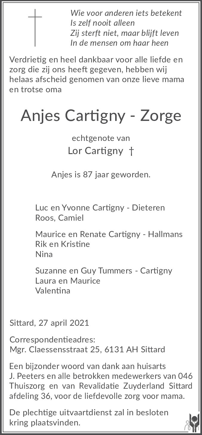 Overlijdensbericht van Anjes Cartigny-Zorge in De Limburger