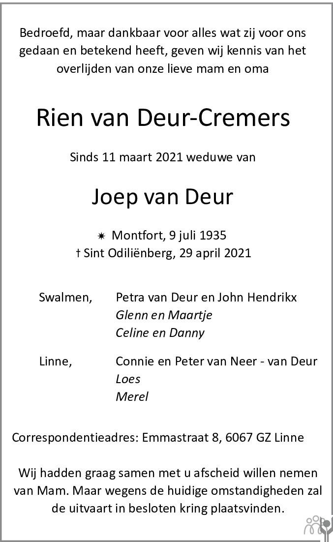 Overlijdensbericht van Rien van Deur-Cremers in De Limburger