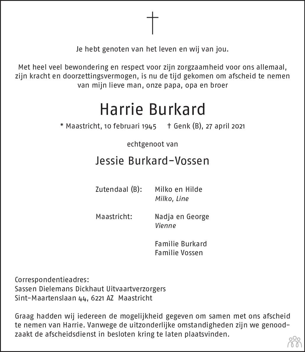Overlijdensbericht van Harrie Burkard in De Limburger