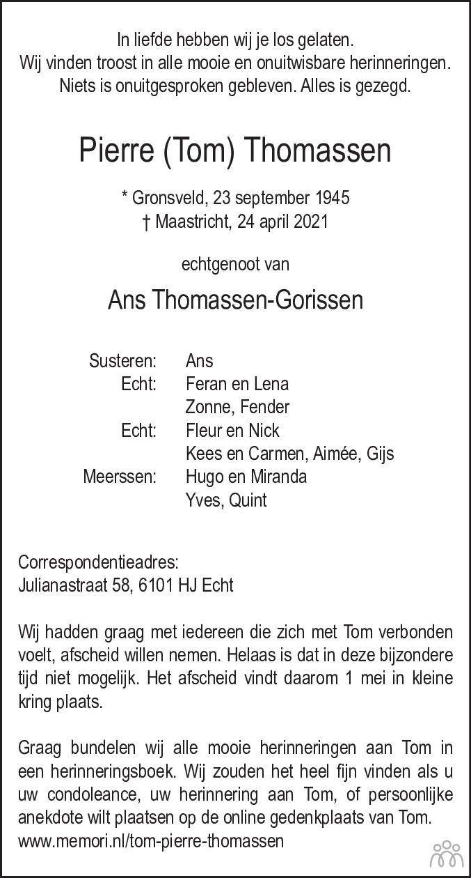 Overlijdensbericht van Pierre (Tom) Thomassen in De Limburger