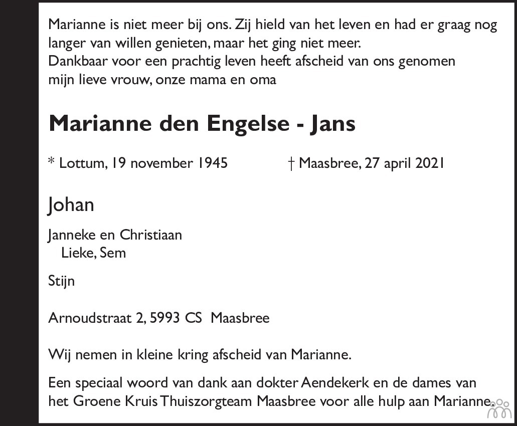 Overlijdensbericht van Marianne den Engelse-Jans in De Limburger