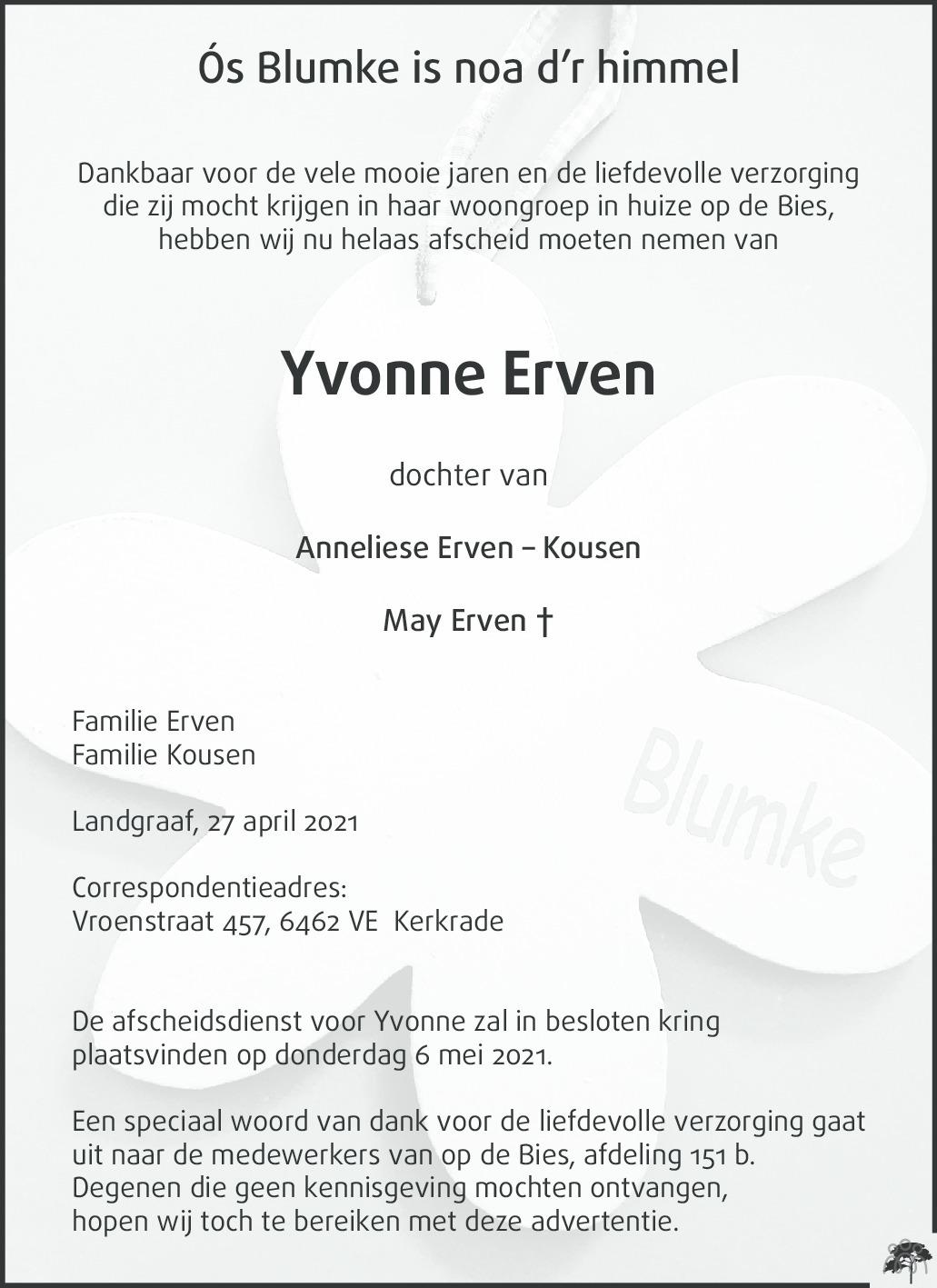 Overlijdensbericht van Yvonne Erven in De Limburger