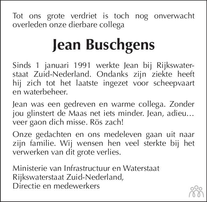Overlijdensbericht van Jean Buschgens in De Limburger