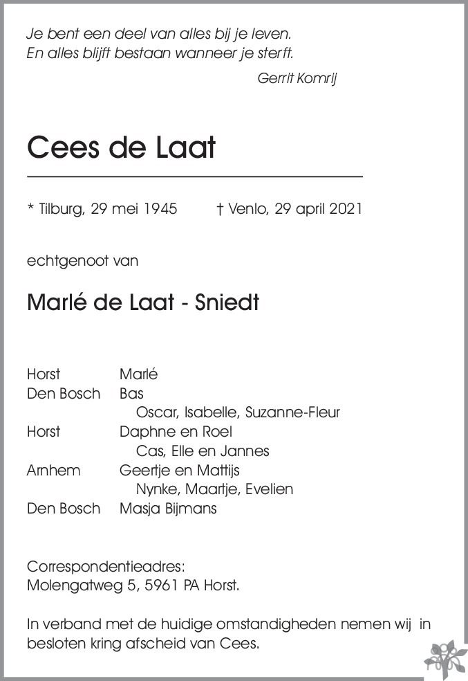 Overlijdensbericht van Cees de Laat in De Limburger