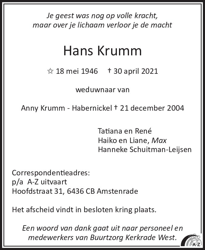 Overlijdensbericht van Hans Krumm in De Limburger