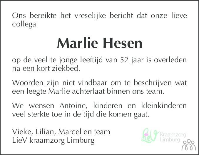 Overlijdensbericht van Marlie Hesen in De Limburger