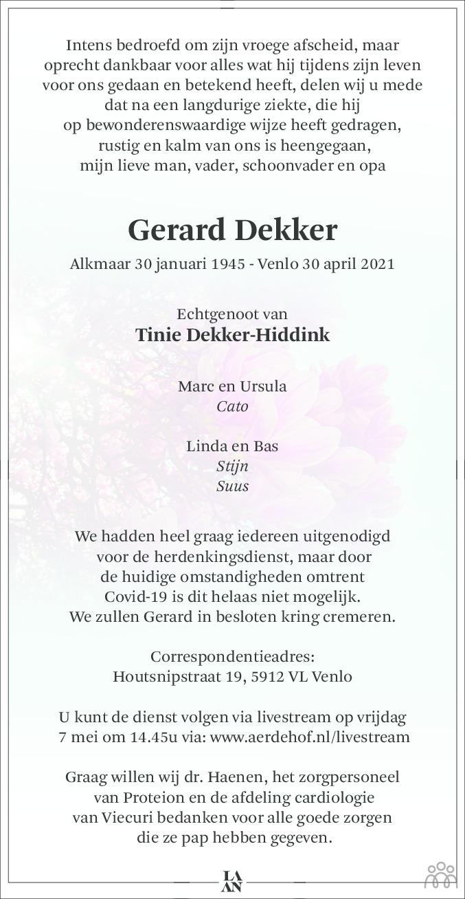 Overlijdensbericht van Gerard Dekker in De Limburger