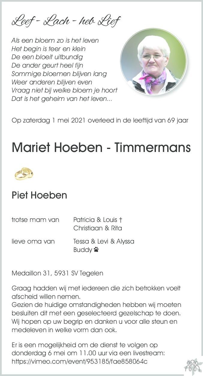 Overlijdensbericht van Mariet Hoeben-Timmermans in De Limburger
