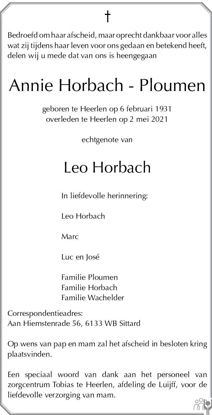 Overlijdensbericht van Annie Horbach-Ploumen in De Limburger