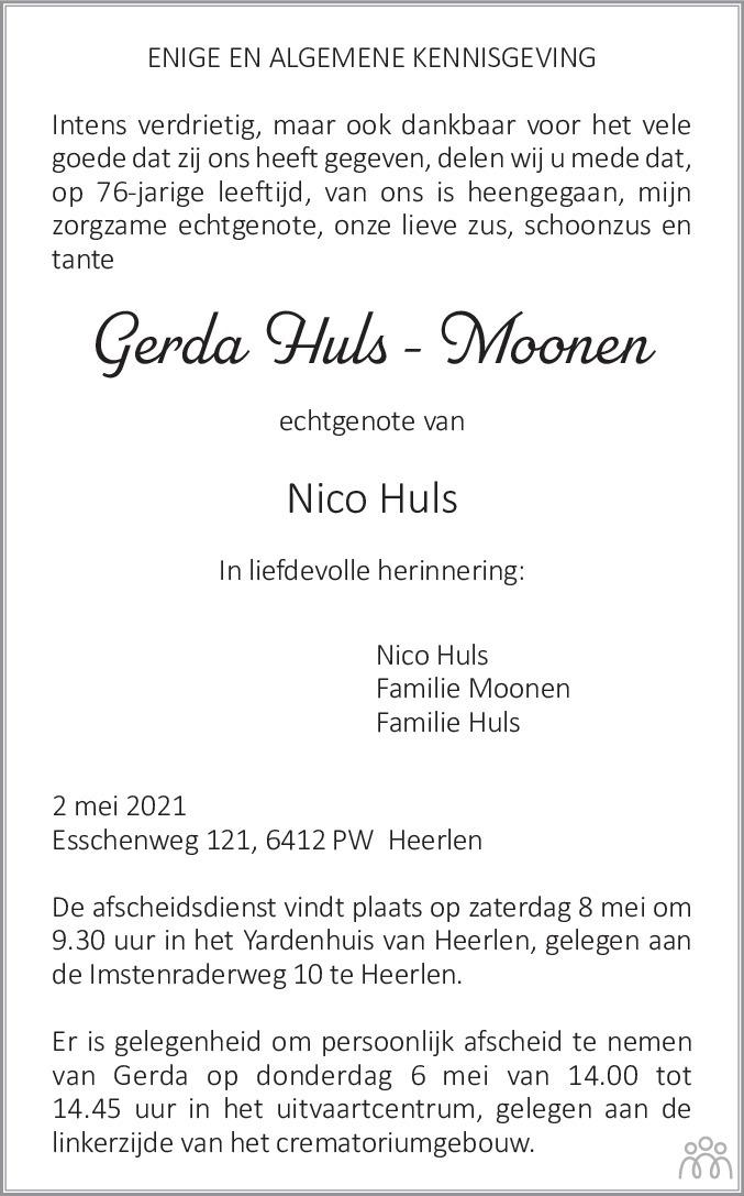 Overlijdensbericht van Gerda Huls-Moonen in De Limburger