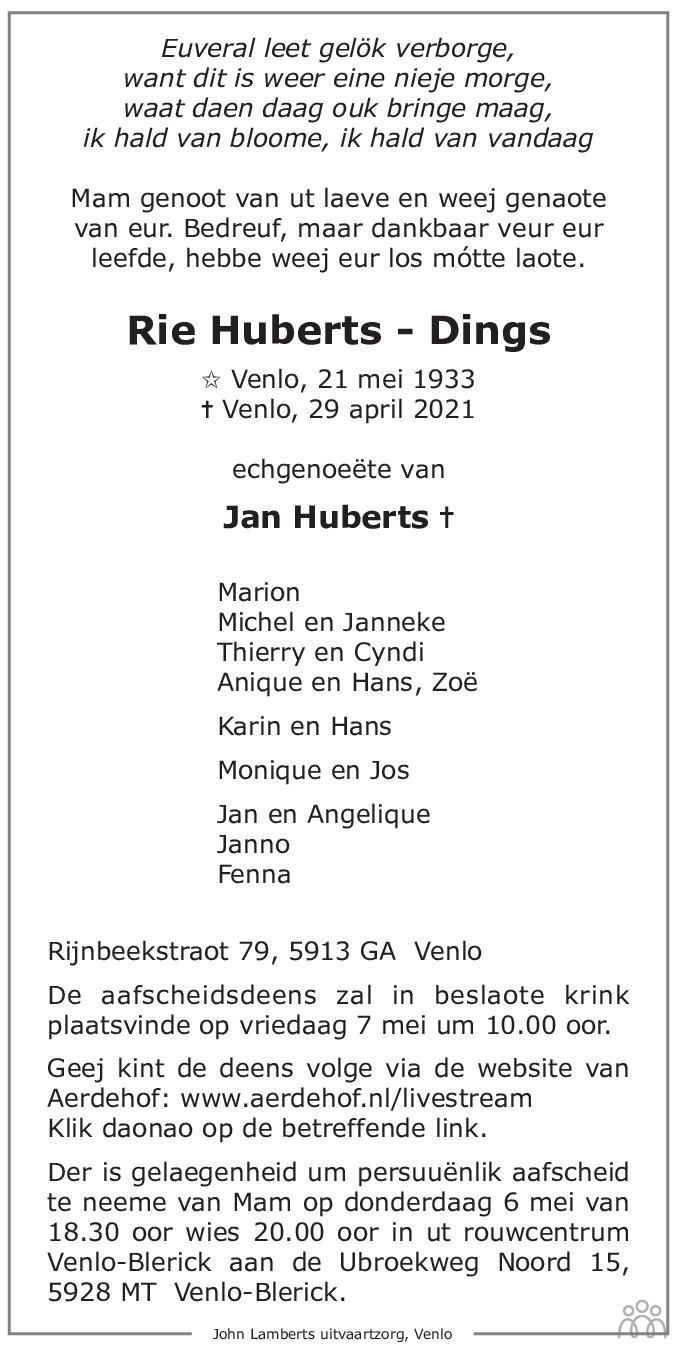 Overlijdensbericht van Rie Huberts-Dings in De Limburger