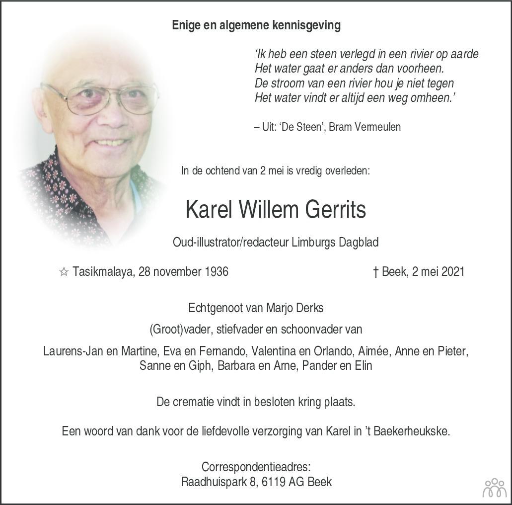 Overlijdensbericht van Karel Willem Gerrits in De Limburger