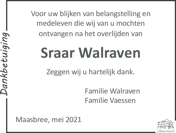 Overlijdensbericht van Sraar Walraven in De Limburger