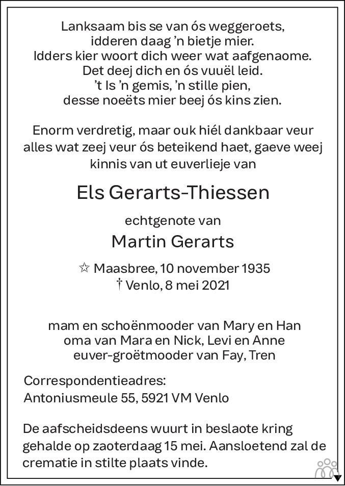 Overlijdensbericht van Els Gerarts-Thiessen in De Limburger