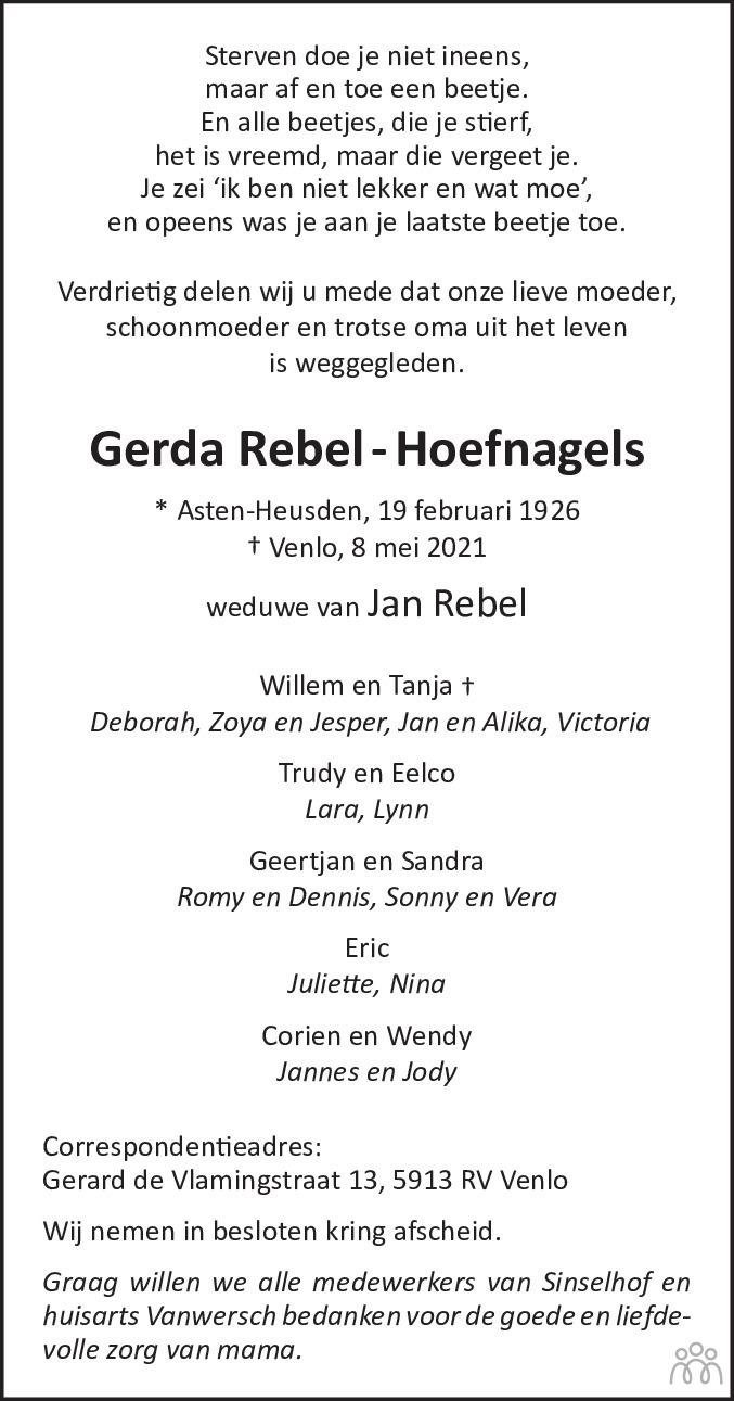 Overlijdensbericht van Gerda Rebel-Hoefnagels in De Limburger