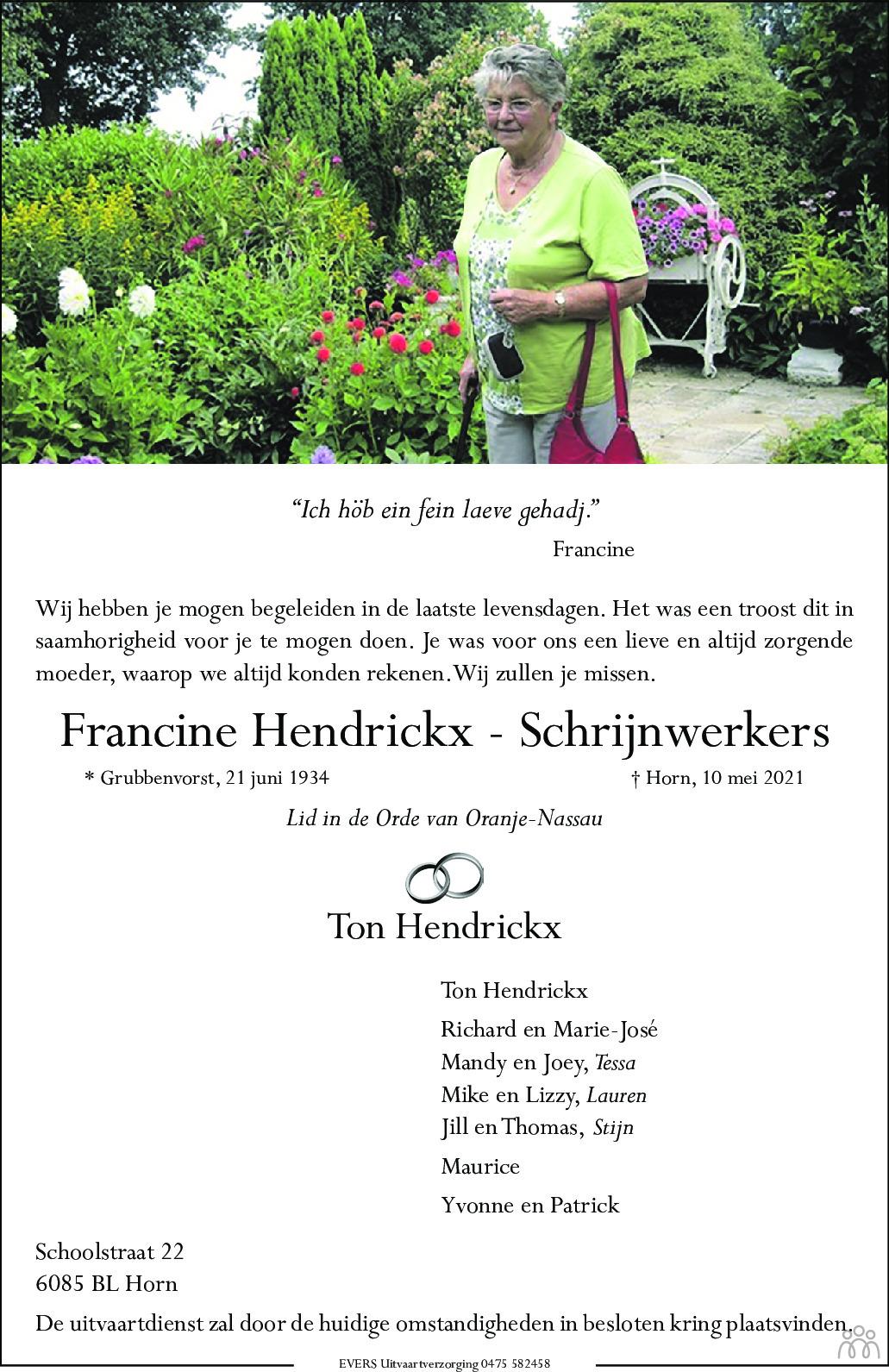 Overlijdensbericht van Francine Hendrickx-Schrijnwerkers in De Limburger