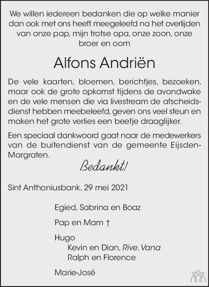 Overlijdensbericht van Alfons Andriën in De Limburger