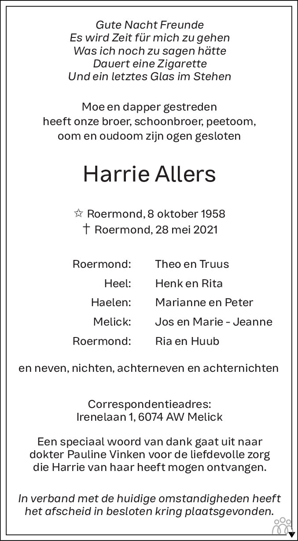 Overlijdensbericht van Harrie Allers in De Limburger