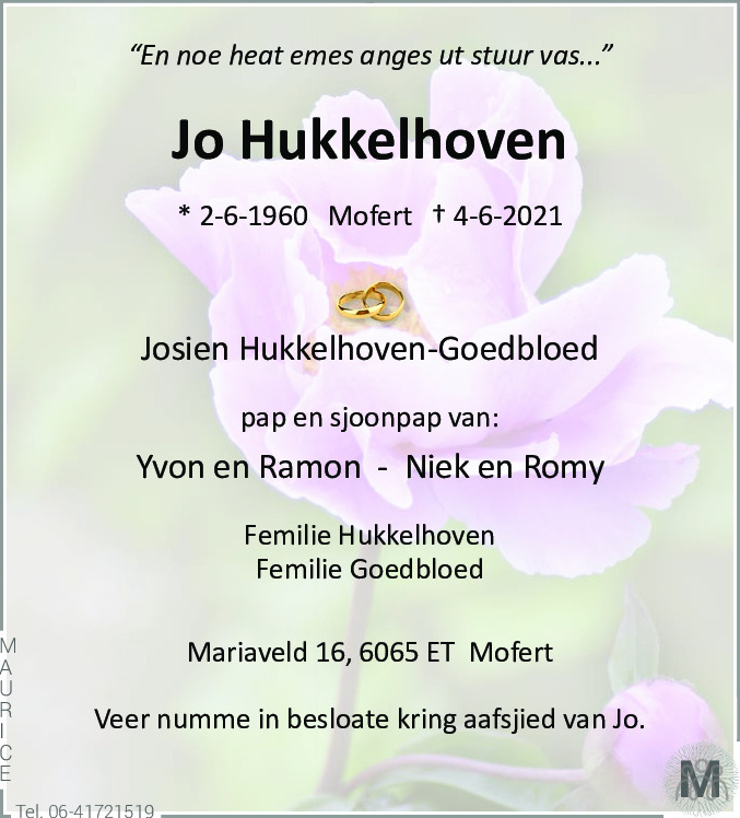 Overlijdensbericht van Jo Hukkelhoven in De Limburger