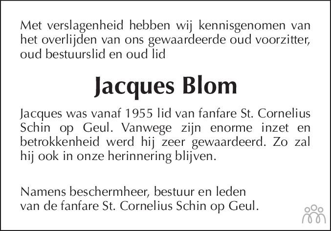 Overlijdensbericht van Jacques BLom in De Limburger