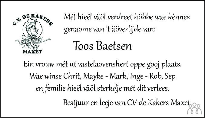 Overlijdensbericht van Toos Baetsen-Verdonschot in De Limburger
